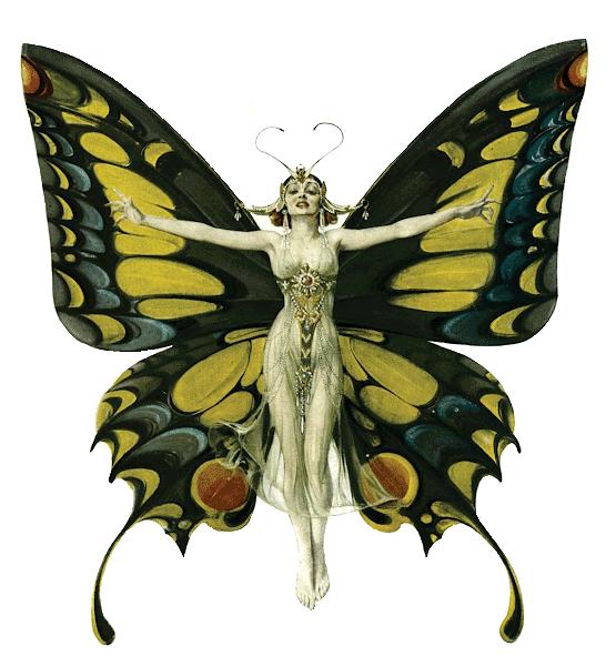 Butterfly-Woman-artnuveau-golden